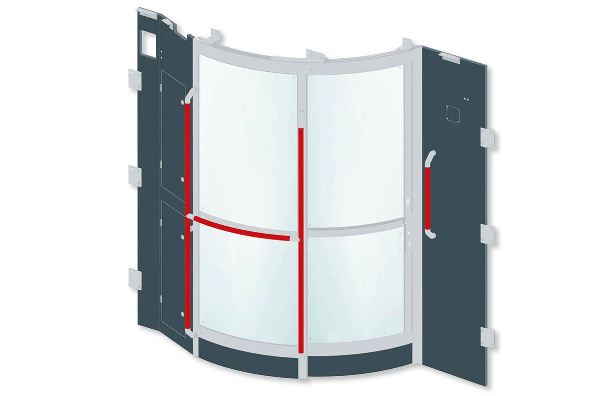 kasper elektronik | Fahrerraum-Trennwand mit geteilter Ganzglasschiebetür